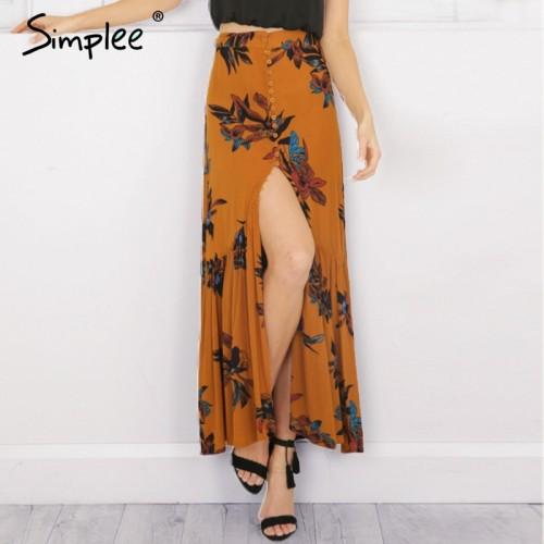 Simplee High waist boho print long skirt Women split maxi skirt floral print beach skirt Female
