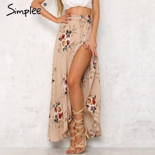 Simplee Vintage floral print long skirts women Summer elegant beach maxi skirt Boho high waist asymmetrical