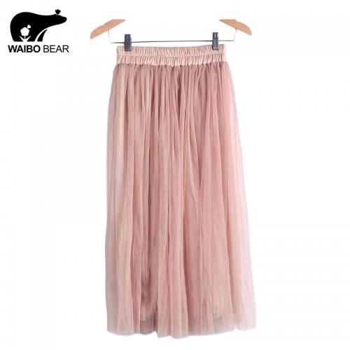 Skirt Ladies Elegant Casual High Waist Pleated Skirt Long Tulle Skirts Straight Skirts Solid Mesh