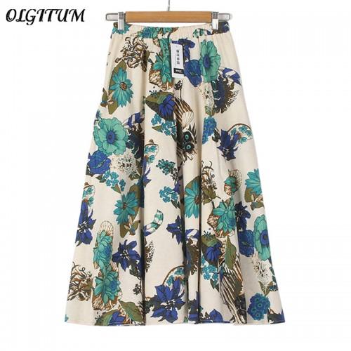 Summer Casual Long Floral Print Women Cotton Linen Skirts