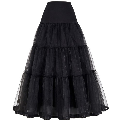 Tulle Skirts Womens Pleated Long Skirt Faldas Black Bridal Wedding Petticoat Midi Tutu Skirt Saia