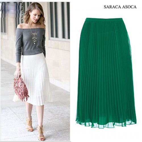 Wholesale 22Color All Match Super Pleated Chiffon Skirt Muslim Women s Elastic Band Fashion Ankle Length