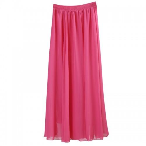 Wholesale Women Chiffon Long Skirts Candy Color Pleated Maxi Skirts Spring Summer Skirts saia feminina