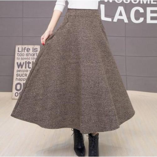 Winter Skirt Faldas Largas Jupe Longue High Waist Vestidos Long Warm Skirts Big Size Black Dames