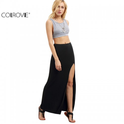Women Black Split Maxi Skirts New Arrival Summer Style Womens Fitness Casual Long