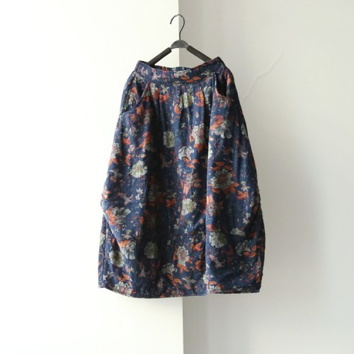 Women New Winter Elastic Pockets Skirts Flower Print Butterfly loose Casual Chinese style Skirts Floral