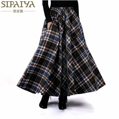 Women Skirt 50s Vintage and Retro Wool Maxi Elastic Waist Plaid Classical Thick