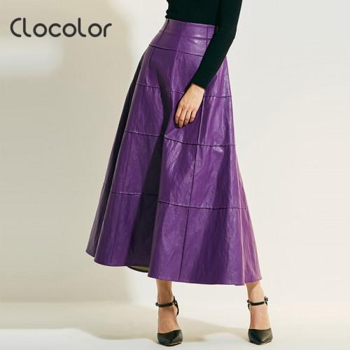Women Skirt New Autumn Winter Apricot Purple High Waist Plain Ankle Length Modern Fashion