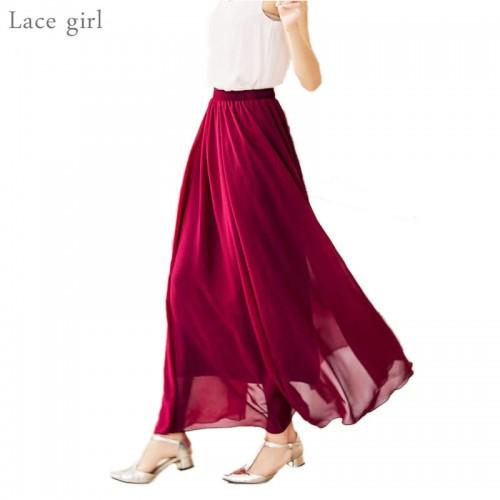 Women s Elegant High Waist Chiffon Skirt Elastic Waist Casual Long Maxi Skirts Saias 80 90