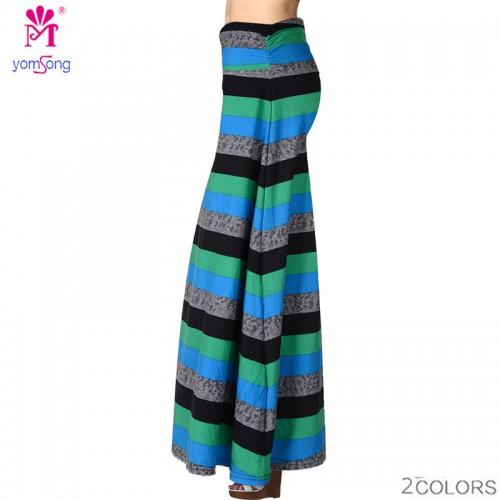 Yomsong High Waisted Stripped Print Maxi Skirt Women s Skirt Plus Size Beach Skirt Orginal American