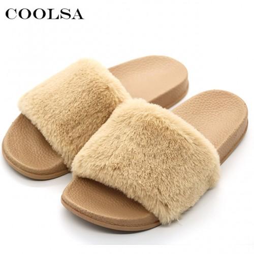 AZ CAR COOLSA Nueva Furry mujeres Zapatillas Diapositivas Dise ador de Piel Sint tica de PVC