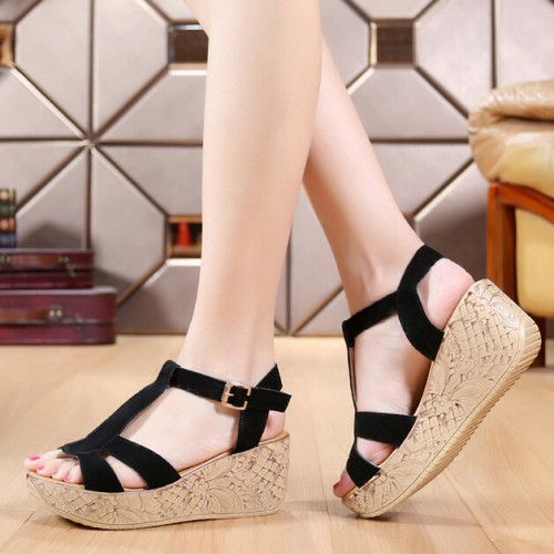 New 2016 platform wedges slippers women genuine leather sandals open toe sandalias woman sandalia flip flops