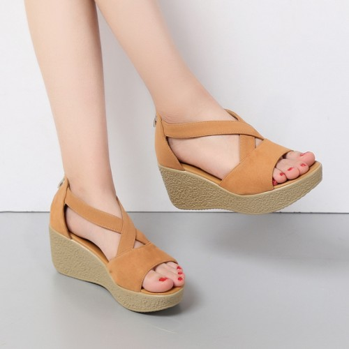 Nice Women Sandals Platform Women Sandals Lady s Wedges Sandals Summer Genuine Leather Platform Shoes Plus