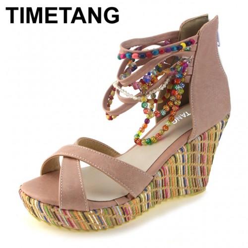 TIMETANG moda de nueva Bohemia con cuentas sandalias femeninas plataforma de la cu a zapatos correa