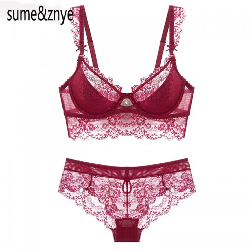 Newest Winter Wine Red Lace Bra Adjustment Ultra thin Side Gathering Push Up Women s Bra