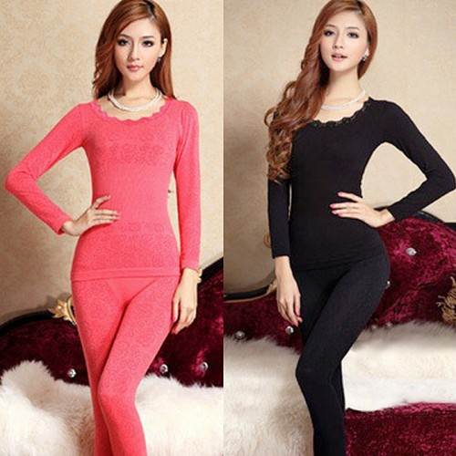Drop ship Beauty Body Winter Modal Thin Long Johns Shaper Women Thermal Underwear Pajama Set Top