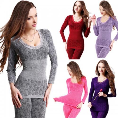 Free Shipping Women s Winter Warm long johns Modal Thermal Underwear Body Shaper Sleepwear Pajamas