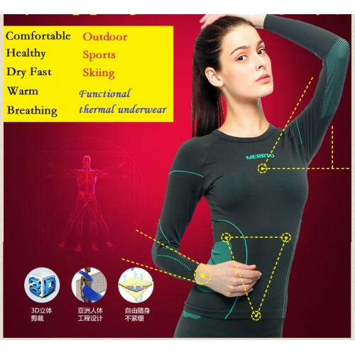 Free shipping Top Singles Day women s Brand winter warm Functional Thermal underwear Dry fast bamboo