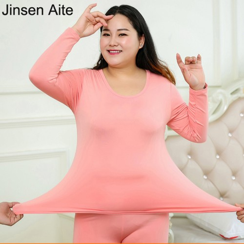 Jinsen Aite New Autumn Winter Fleece Warm 2 Pieces Women Long Johns Large Size Slim Thermal