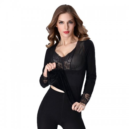 Lace Thermal Underwear Women Winter Ladies Seamless Body Shaping Tops