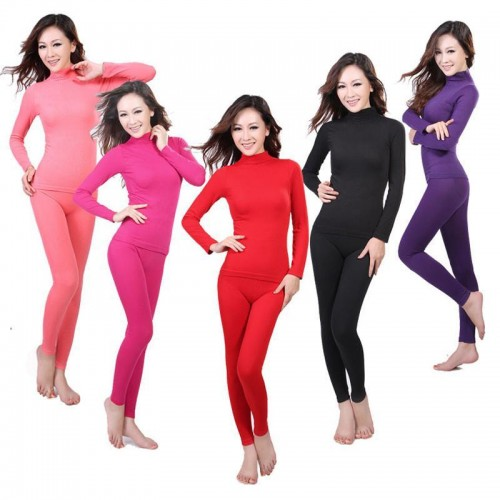 Ladies seamless high neck corset body winter warm clothing long Johns thermal underwear
