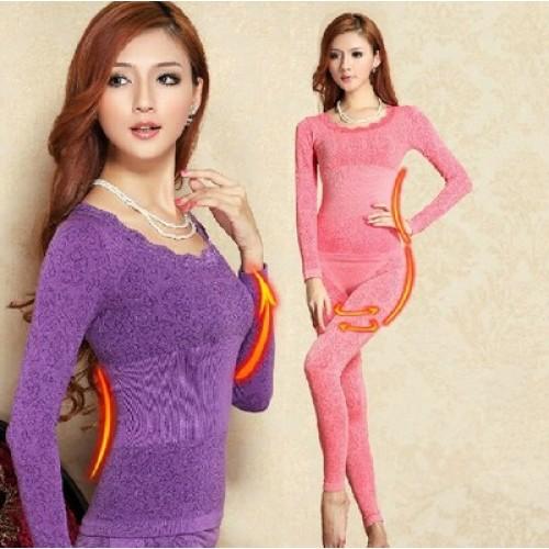 Sleepwear Free Ship Beauty Body Winter Modal Thin Long Johns Shaper Women Thermal Underwear Pajama Set