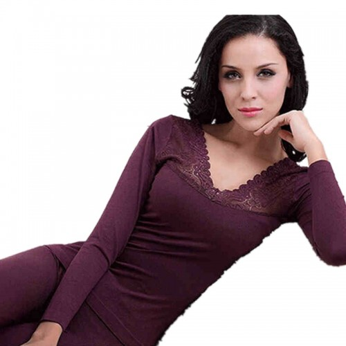 Women Thermal Underwear Sets Ladies Modal Lace Long Johns Layered Clothing For Women Seamless Warm