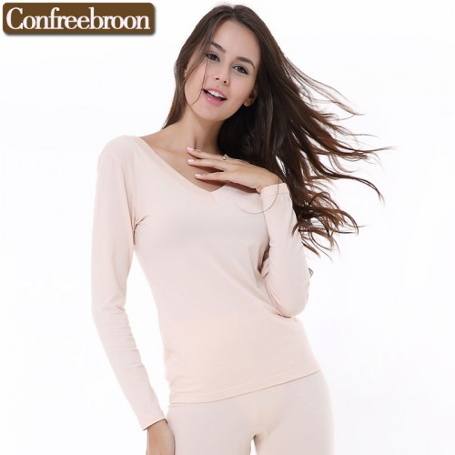 Women s Thermal Underwear Top Low Cut V Neck Elastic Modal Cotton Female Thin Long Sleeve