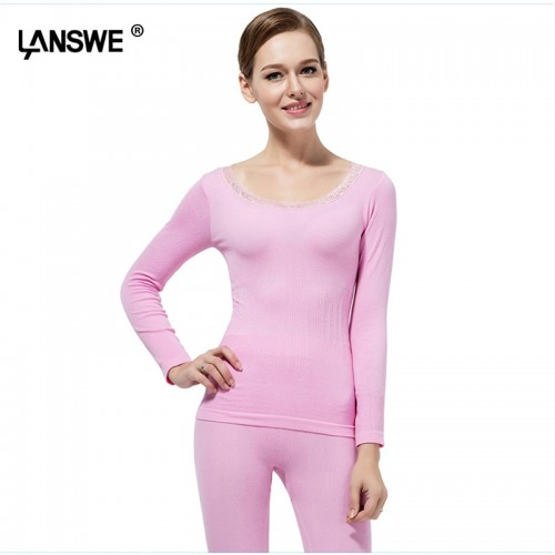 Women slim thermal long johns solid lady breathable warm long underwear set colorful female high elastic