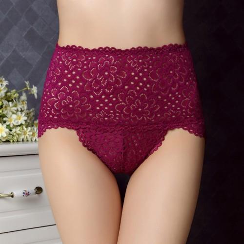 Women High Waist Bamboo Fiber Underwear Briefs Slim Underwear Panties Thong Lace Hollow Out Ladies