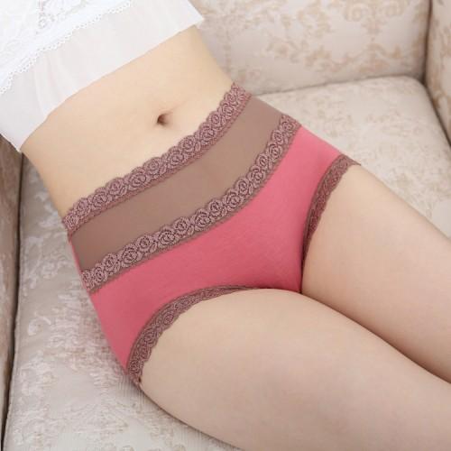 women s underwear high waist cotton lace briefs Color Black Skin Light Purple