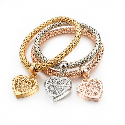 3 Pieces Fashion Bracelets Gold Hollow Charm