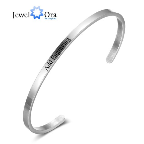 Personalised Gifts ID Bangles For Lovers Engrave Name Stainless Steel Bracelets Bangles