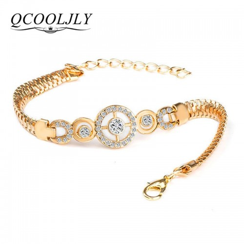 QCOOLJLY Luxury Round Crystal Hand Chain Bracelets for Women