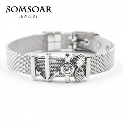 Somsoar Jewelry Silver Stainless Steel Mesh Charms Bracelet Set with Rubber preventer