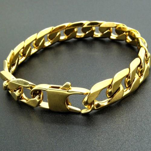 Stainless Steel Bracelet Curb Cuban Chain Gold Color Bracelets