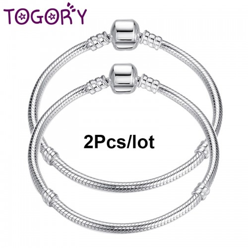 TOGORY Chain With Snake Clasp fit Charm Fine Bracelets Necklaces Fashion