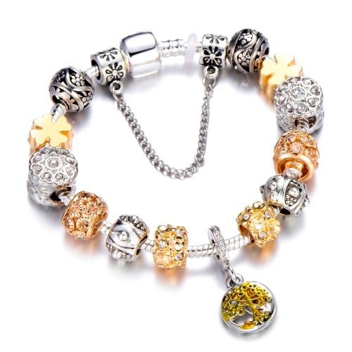 Vintage Silver Color Charm Bracelet with Tree of life Pendant Gold Crystal Ball Brand Bracelet