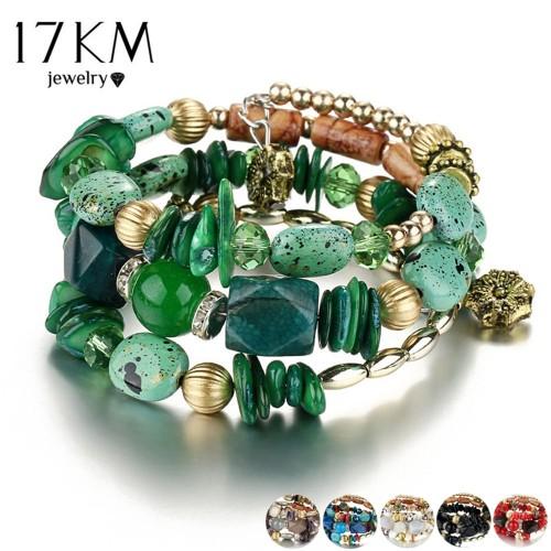 Woman Boho Multilayer Beads Charm Bracelets for Women Vintage Resin Stone Bracelets Bangles