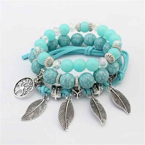 ZOSHI brand Fashion Vintage Ethnic Elasticity Marble beads Bracelet Boho Statement Leaves Bangle Bracelet Women
