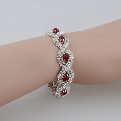 Luxury Austrian Crystal Bracelet With Red Stones