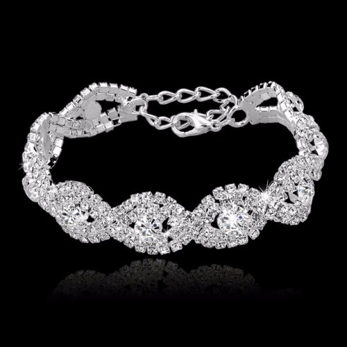 Luxury Austrian Crystal Bracelet With White Stones