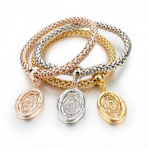 3 Pieces Fashion Bracelets Gold Hollow Charm Oval