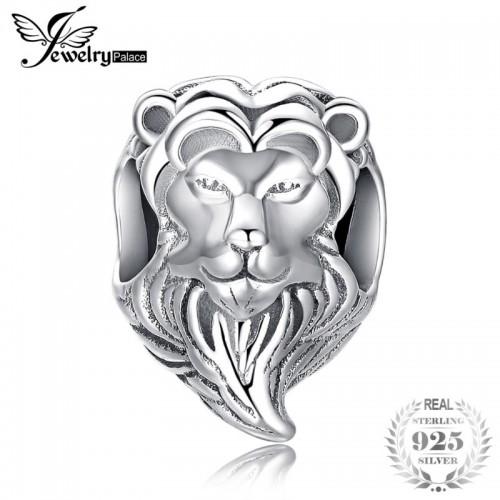 Brave Heart Sterling Silver Lion Head Charm Beads Fit Bracelets For Women As Beautiful.jfif