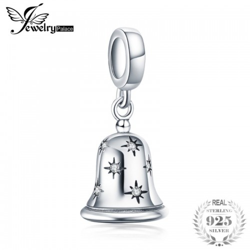 Christmas Jingle Bell Cubic Zirconia Sterling Silver Charm Beads For Women.jfif