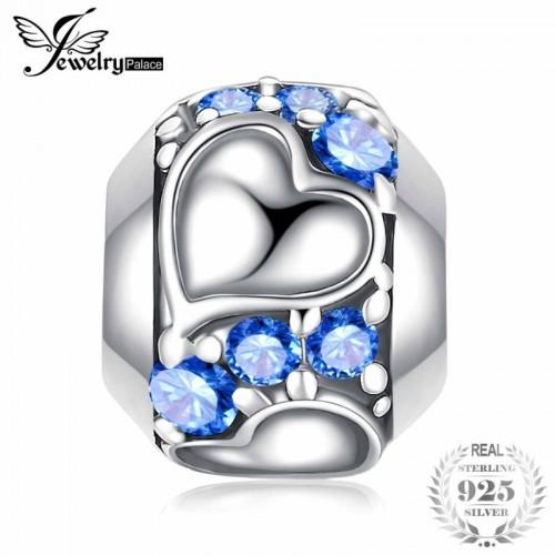 Faithful Heart 0 4ct Blue Cubic Zirconia Sterling Silver Charm Beads.jfif