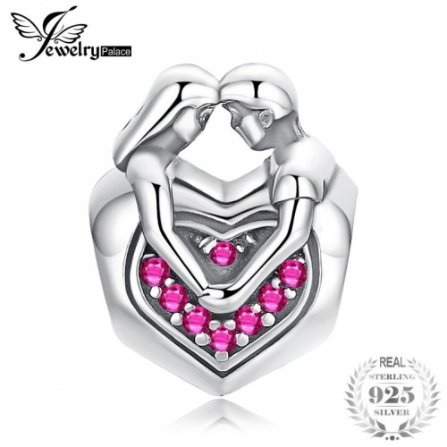 Faithful Love Created Pink Sapphire Sterling Silver Beads Charms Fit Bracelets Bangles Fashion Couple.jfif