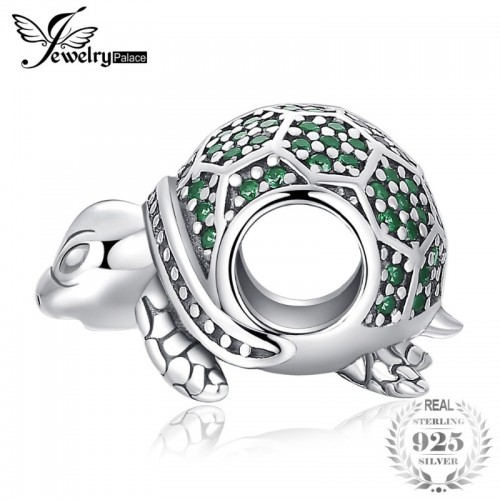Ocean Animal Turtle Nano Russian Simulated Emerald Sterling Silver Charm Beads For Women.jfif