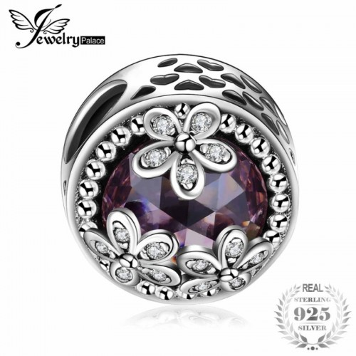 Sterling Silver Beads Charms Sparkling Daisies Cubic Zirconia Charm Fit Bracelet Bangles Flower Silver.jfif