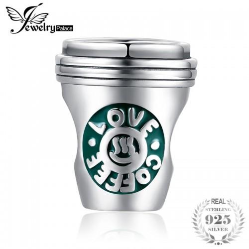 Sterling Silver Coffee Cup Green Enamel Charm Beads Fit Bracelets As Beautiful.jfif